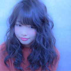 ヘアアレンジ ロング 暗髪 前髪あり ヘアスタイルや髪型の写真・画像