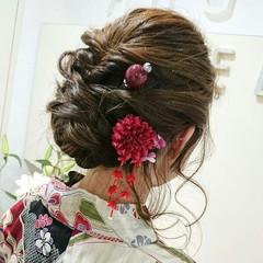 フェミニン ヘアアレンジ ミディアム 夏 ヘアスタイルや髪型の写真・画像