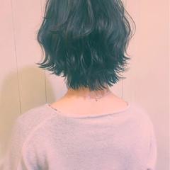 ボブ 冬 ゆるふわ アッシュ ヘアスタイルや髪型の写真・画像