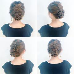 編み込み ヘアアレンジ 結婚式 デート ヘアスタイルや髪型の写真・画像