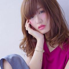 大人かわいい ガーリー セミロング フェミニン ヘアスタイルや髪型の写真・画像
