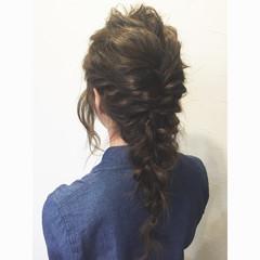 ヘアアレンジ 波ウェーブ 編み込み ロング ヘアスタイルや髪型の写真・画像