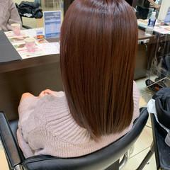 ガーリー セミロング ピンクブラウン ピンクベージュ ヘアスタイルや髪型の写真・画像