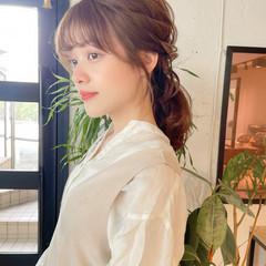 セルフヘアアレンジ ナチュラル 簡単ヘアアレンジ ミディアム ヘアスタイルや髪型の写真・画像