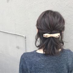 ボブ ヘアアクセ ハーフアップ 簡単ヘアアレンジ ヘアスタイルや髪型の写真・画像