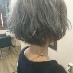 ボブ アッシュグレージュ 外国人風 ガーリー ヘアスタイルや髪型の写真・画像