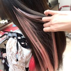 ロング ガーリー 韓国ヘア ストレート ヘアスタイルや髪型の写真・画像