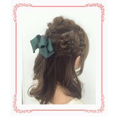 結婚式 フェミニン ミディアム デート ヘアスタイルや髪型の写真・画像