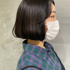 韓国ヘア ミニボブ ボブ ナチュラル ヘアスタイルや髪型の写真・画像