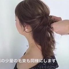 簡単ヘアアレンジ セミロング ルーズ ポニーテール ヘアスタイルや髪型の写真・画像