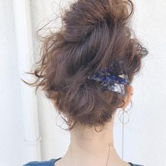 ミディアム 夏 ヘアアレンジ 涼しげ ヘアスタイルや髪型の写真・画像