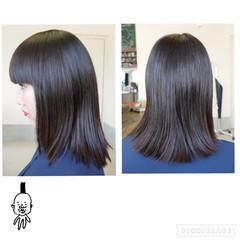 ストレート モード ミディアム ワイドバング ヘアスタイルや髪型の写真・画像