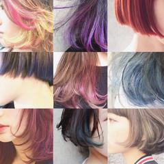 ハイライト グラデーションカラー 暗髪 アッシュ ヘアスタイルや髪型の写真・画像