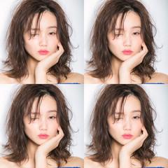 セミディ 無造作ミックス 前髪 ミディアムヘアー ヘアスタイルや髪型の写真・画像