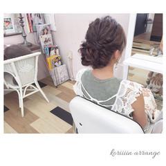 編み込み ヘアアレンジ パーティ 二次会 ヘアスタイルや髪型の写真・画像