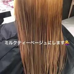ナチュラル ミルクティーベージュ インナーカラー セミロング ヘアスタイルや髪型の写真・画像