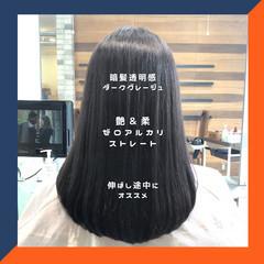髪質改善 グレージュ セミロング ストレート ヘアスタイルや髪型の写真・画像