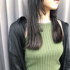 暗髪女子 セミロング 暗髪 切りっぱなし ヘアスタイルや髪型の写真・画像
