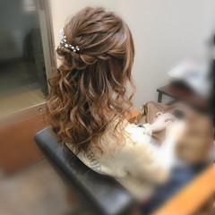 結婚式 ヘアセット フェミニン セミロング ヘアスタイルや髪型の写真・画像