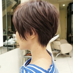ミニボブ ショート ショートボブ ナチュラル ヘアスタイルや髪型の写真・画像