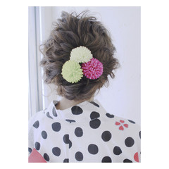 セミロング アップスタイル ヘアアレンジ 花火大会 ヘアスタイルや髪型の写真・画像