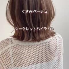 デジタルパーマ ミディアム 極細ハイライト くびれボブ ヘアスタイルや髪型の写真・画像