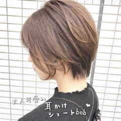 ナチュラル ショートヘア ブラウンベージュ ショートボブ ヘアスタイルや髪型の写真・画像