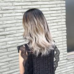 バレイヤージュ 外国人風カラー ミディアム ナチュラル ヘアスタイルや髪型の写真・画像