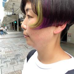 ボブ インナーカラー ブリーチ ミニボブ ヘアスタイルや髪型の写真・画像