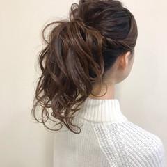 ナチュラル ポニーテール ロング ポニーテールアレンジ ヘアスタイルや髪型の写真・画像