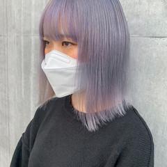 ハイトーンカラー 透明感カラー ラベンダー ナチュラル ヘアスタイルや髪型の写真・画像