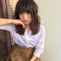 ゆるふわ 大人かわいい 暗髪 セミロング ヘアスタイルや髪型の写真・画像