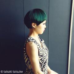 モード ショート ベリーショート グリーン ヘアスタイルや髪型の写真・画像