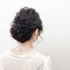 ヘアアレンジ アップスタイル 二次会 セミロング ヘアスタイルや髪型の写真・画像