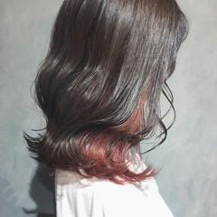韓国ヘア 切りっぱなしボブ ミニボブ インナーカラー ヘアスタイルや髪型の写真・画像