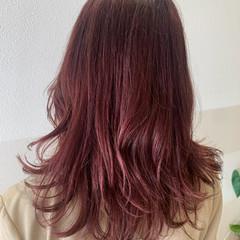 ガーリー ピンク セミロング ピンクブラウン ヘアスタイルや髪型の写真・画像