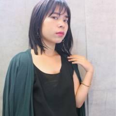 ミディアム ナチュラル 黒髪 ロブ ヘアスタイルや髪型の写真・画像