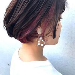 ピンク ボブ 女っぽヘア デート ヘアスタイルや髪型の写真・画像
