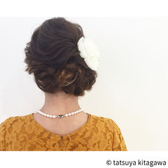 上品 結婚式 エレガント セミロング ヘアスタイルや髪型の写真・画像