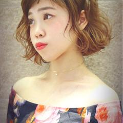 大人女子 ショートバング ボブ パーマ ヘアスタイルや髪型の写真・画像