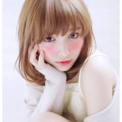 小顔 モテ髪 ミディアム コンサバ ヘアスタイルや髪型の写真・画像