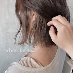 ボブ ホワイトベージュ おしゃれさんと繋がりたい インナーカラー ヘアスタイルや髪型の写真・画像