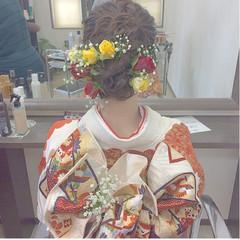ミディアム ヘアアレンジ 成人式 花 ヘアスタイルや髪型の写真・画像