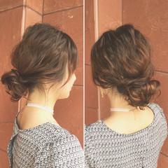 シニヨン ヘアアレンジ ミディアム 結婚式 ヘアスタイルや髪型の写真・画像