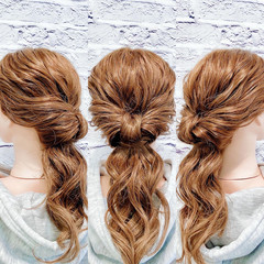くるりんぱ ヘアセット フェミニン ヘアアレンジ ヘアスタイルや髪型の写真・画像