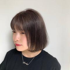 ボブ スモーキーカラー ワンレングス 透明感カラー ヘアスタイルや髪型の写真・画像