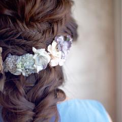 編み込み セミロング ショート ヘアアレンジ ヘアスタイルや髪型の写真・画像