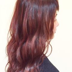 ゆるふわ セミロング ピンク ナチュラル ヘアスタイルや髪型の写真・画像