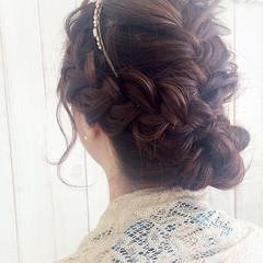 ヘアアレンジ 編み込み 波ウェーブ ロング ヘアスタイルや髪型の写真・画像