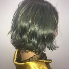 ミント モード ボブ グレージュ ヘアスタイルや髪型の写真・画像